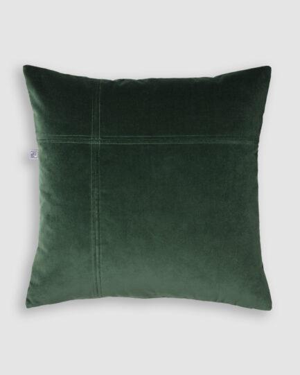 Confeccionada em veludo de algodão na cor verde. O preenchimento é feito em fibra siliconada. Possui zíper invisível.